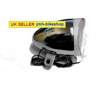 Dynamo Headlamp 6 volt Front Light Chrome effect vintage Bicycle Bike Cycle