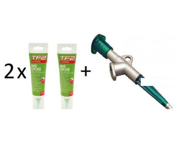 TF2 Bike Grease with Teflon®  x 2 (125ml) & Grease Gun