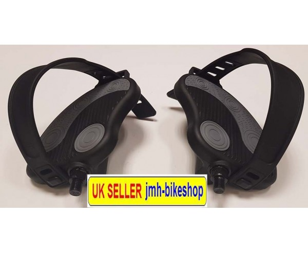 Exercise Bike Pedals Adjustable Straps 1/2 inch Gym Bicycle Cycle