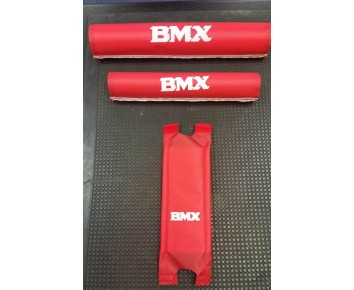 Vintage BMX Grips Pad Set Old School Red Handlebar & Frame