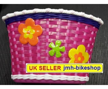 Bike Bicycle Basket Girls Pink Purple with Flowers Childs Cycle Handlebar fitting