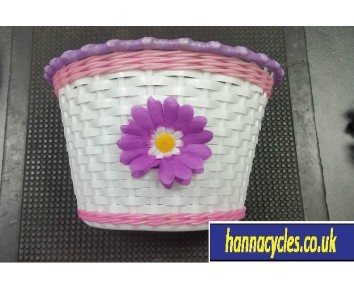 Bike Bicycle Basket Girls Purple/White Flower Childs Cycle Handlebar fitting