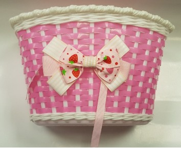 Bike Bicycle Basket Girls Pink White Childs Cycle Handlebar fitting Ribbon