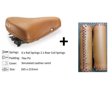 Vintage Retro Sprung Comfort Saddle + Leather look Handlebar Grips (Tan / Light Brown)