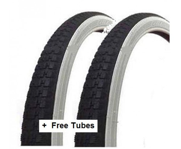 26 x13/8 37-590 Raleigh Record Vintage Tyre White Wall + FREE TUBE Pair