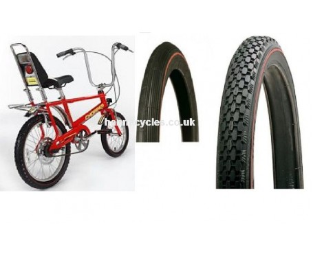 16 x2 20 x2.125 Pair Raleigh Chopper original Front & Rear Tyre Red Line