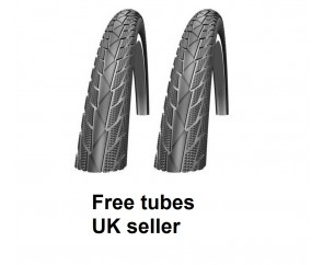 Pair of 18 inch Black bicycle tyres and tubes for folding bike smooth thread 18 x 1.75 suits 18x1.95 47-355 with free tubes