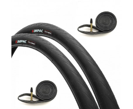 Pair 700x25c Black TYRES & FREE INNER TUBES Road Bike Racing Bicycle