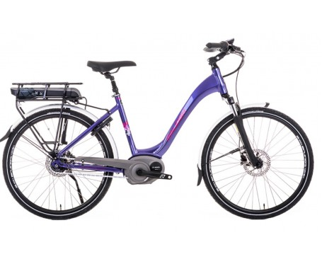 Raleigh Captus Low Step Purple Electric Bike derailleur gears and disc brakes