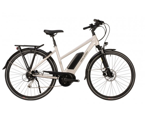 Raleigh Motus Grand Tour Open Frame Silver Bosch Electric Bike derailleur gears and disc brakes 2020