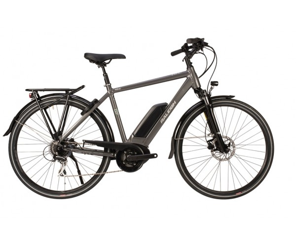 Raleigh Motus Tour Crossbar Frame Grey Bosch Electric Bike derailleur gears and disc brakes 2020