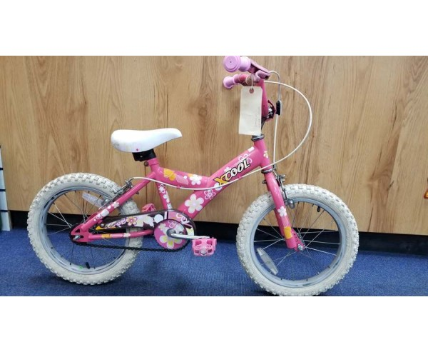 """Second hand 16"""" Xcool Girls Bike Suitable for 4 1/2 - 6 1/2 years old"""