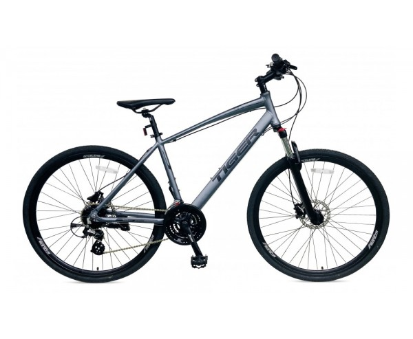 Tiger Helix Stealth hybrid bike Front suspension and hydraulic disc brakes
