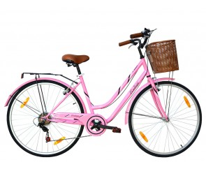 Tiger Vintage Pink Ladies Hybrid Bike