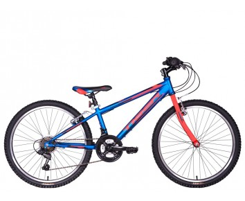 "24"" Tiger Warrior 12"" frame Boys 18 speed mountain Bike. Blue/Red for ages 7 to 11 years old"
