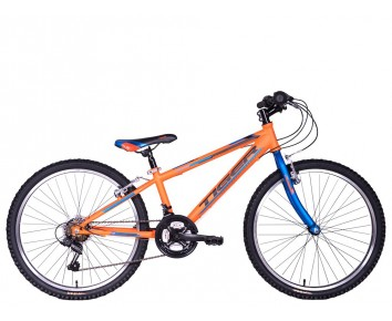 "24"" Tiger Warrior 12"" frame Boys 18 speed mountain Bike. Orange/Blue for ages 7 to 11 years old"