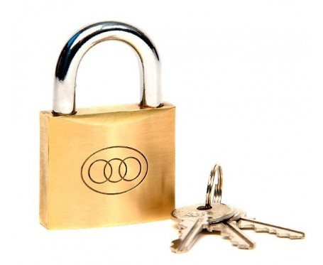Padlock 32 mm Brass + 3 Keys Tri-Circle