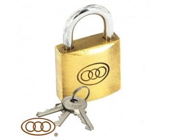 Padlock 38 mm Brass + 3 Keys Tri-Circle