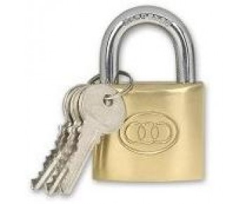 Padlock 50 mm Brass + 3 Keys Tri-Circle
