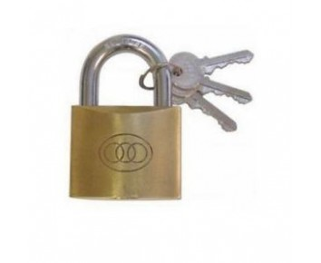Padlock 63 mm Brass + 3 Keys Tri-Circle
