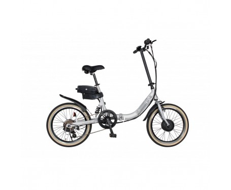 "Viking Viking Hiko Alloy Folding Electric Bike 6 SPEED, 36V E-BIKE, 20"" WHEEL, MATT SILVER"